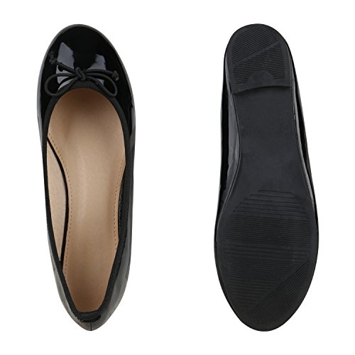 Confortáveis Sapatos Mulheres bailarinas De Apartamentos Chinelo Lackschwarz Óptica Couro dOrAarP