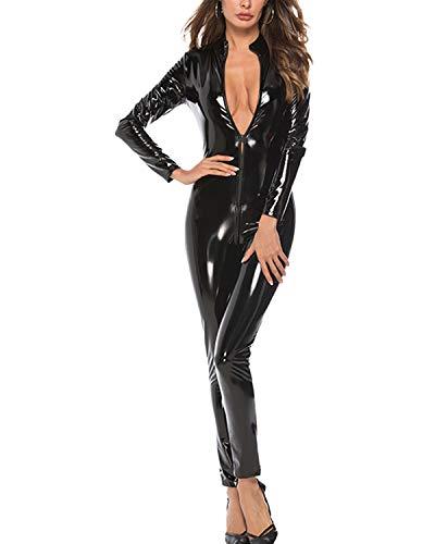 DULEE Damen Wetlook Faux Leder Zipper Ganzanzug Kostüm Nachtclub Clubwear Tanzen Bodysuit Jumpsuit Erotik Baby Dolls Dessous,Black 4XL