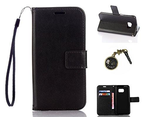 Preisvergleich Produktbild für Smartphone Samsung Galaxy S7 Hülle,Echt Leder Tasche für Samsung Galaxy S7 Flip Cover Handyhülle Bookstyle mit Magnet Kartenfächer Standfunktion + Staubstecker (1DD)