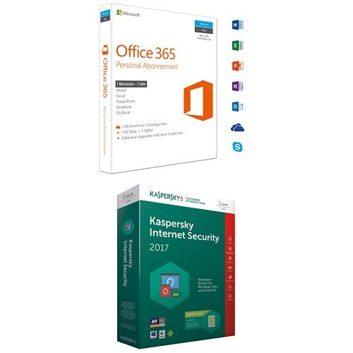 Microsoft Office 365 Personal - 1 PC/MAC - 1 Jahresabonnement + Kaspersky Internet Security 2017 + Kaspersky Internet Security für 1 Android Gerät (Office 365-microsoft Personal)