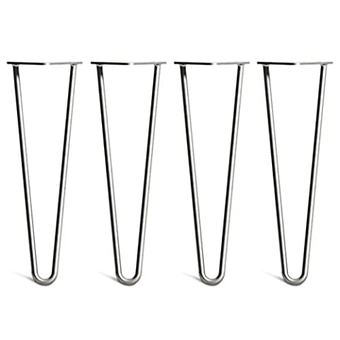 4 x Heavy Duty Hairpin Table Legs – Superior Double Weld Steel Construction With Free Screws, Build Guide & Protector Feet Worth £8! – Mid-Century Modern Style – Available In 10cm To 86cm Heights And A Complete Range Of