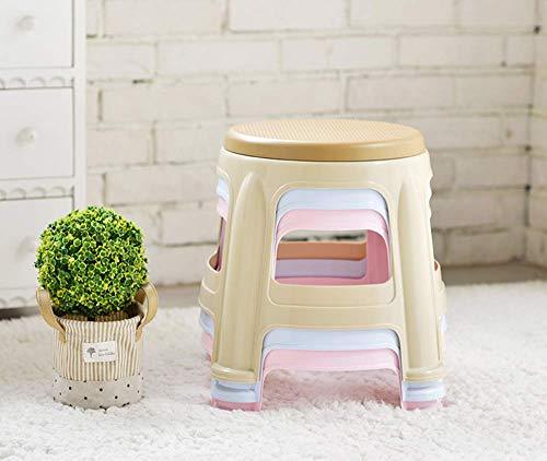 DEED Home Chair Hocker Klappstuhl-Kunststoff-Stapelhocker, rutschfester Badezimmerhocker für Kinder, Home Change-Schuhhocker, runder kleiner Hocker für Wohn- und Schlafzimmer,Rosa,