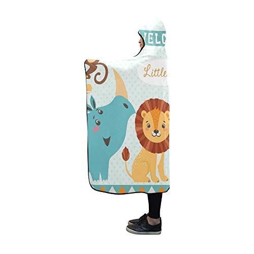 (JOCHUAN Mit Kapuze Decke Baby Shower Design niedlichen Dschungel Tiere Decke 60 x 50 Zoll Comfotable mit Kapuze werfen Wrap)