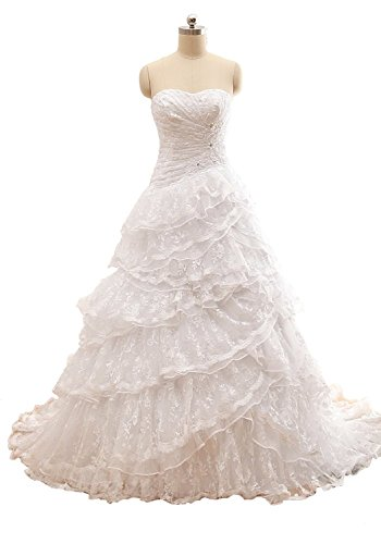 Fanciest Damen Detachable Tiered Spitzen Brautkleider Two Pieces Party Kleider Ivory UK10