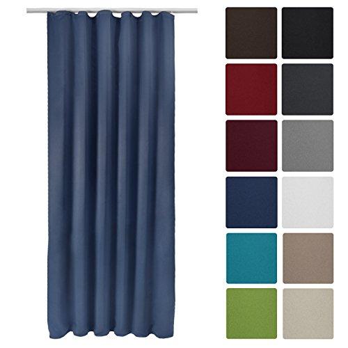 Beautissu Blackout-Vorhang Amelie mit Kräuselband - 140x245 cm Blau - Verdunklungsgardine Universalband Blickdicht