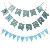 KUNGYO Blau Happy Birthday Alles Gute zum Geburtstag Bunting Banner, Geburtstagsdekorationen mit dreieckiger Flagge