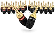 Deadbolt Banana Plugs 12-Pairs by Sewell, Gold Plated Speaker Plugs, Quick Connect 12 Pairs SW-29863-12