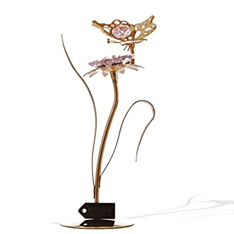 Matashi 24k Gold Plated Flower Figurine Made with Genuine Crystals (Butterfly, Pink Crystal)