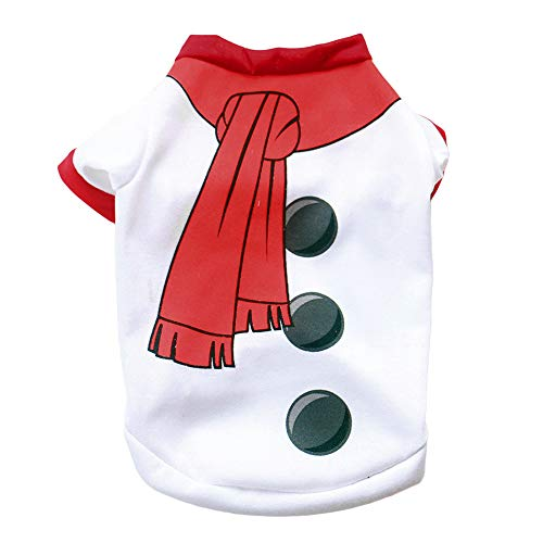 nd Welpen Weihnachten Kleidung Kostüm Schneemann Drucken T-Shirt Weihnachten Bekleidung M ()