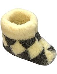 Janex - Zapatillas de estar por casa de lana para hombre blanco Kariert Schwarz/Weiss