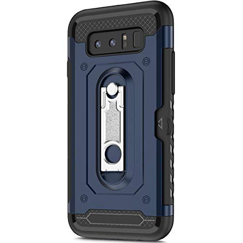 KunyFond Support Mobile Carte Credit Deux en un Gel Housse Étui Armure 2 en 1 Souple Flexible Mince PC+TPU Anti-chute Etui Bumper Case Cover Couverture Coque Compatible Samsung Galaxy Note 8-Bleu
