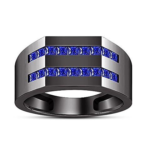 Vorra Fashion Schwarz rhodiniert 925Silber Prinzessin Cut Blau Saphir Herren Hochzeit Band Ring
