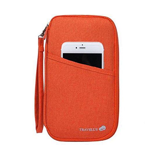 KingSnow Reiseorganizer Reisedokumententasche Reisebrieftasche mit Reißverschluss, Reise Organizer, Mappe für Reiseunterlagen, Reiseetui für Reisedokumente Reisemappe Reisebrieftasche Reisebörse Tickettasche Ausweistasche (Orange)
