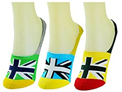 Neska Moda Premium 3 Pair Unisex Multicolor Cotton No Show Loafer Socks-Silicon Gel At Heel For Perfect Grip