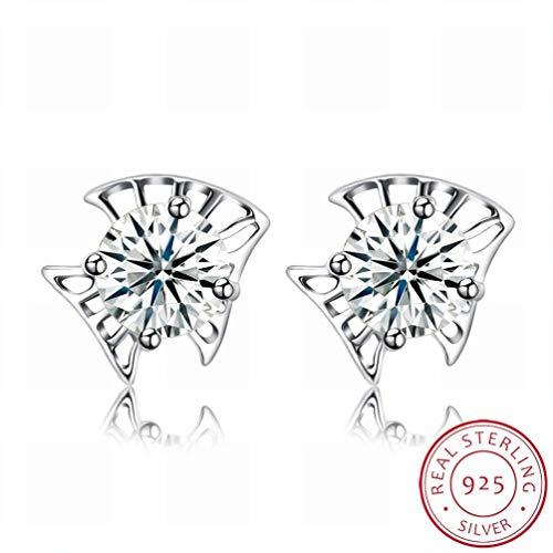 W-E Mode Ohrringe Ohrringe Personalisierte Kreative Ohrringe/Edelstahl/Anti-Allergie/Silber Blinken/Diamanten/White Crystal/Klein und Exquisit, Bildfarbe -