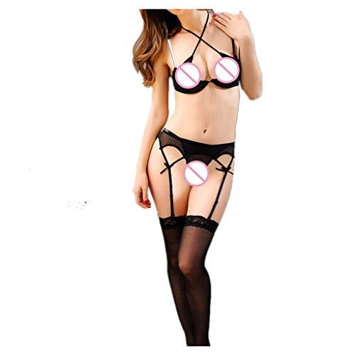 Xuthuly Damen Sexy Weiblicher Allure Bikini 3-Punkt-Typ Kondole Gürtel Aushöhlen Sling Durchbrochene Strümpfe Offener Schritt Unterhose Erotische Unterwäsche Anzug ()