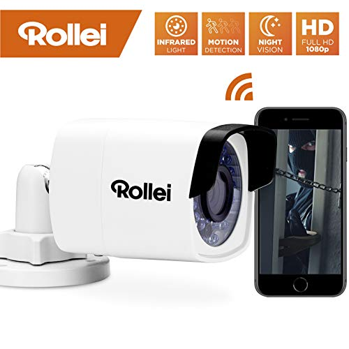 Rollei SafetyCam 200 | WLAN HD Überwachungskamera mit Bewegungsmelder | Home Security Camera Outdoor | IP Kamera WiFi außen, Überwachung mit Handy App ohne Akku, Speicher auf SD Karte und Cloud