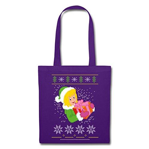 Spreadshirt Bibi Blockberg Christmas Pattern Modello Norvegese Borsa In Tessuto Viola