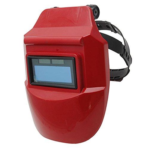 MagiDeal Auto Darkening Schweißhelm Schweißschirm Schweißmaske Solar Schweißbrille - Solar Auto Rot