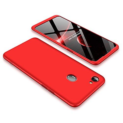 PAIPAIGUAN Oppo F7 Hülle Oppo F7 Handyhülle 3 in 1 Ultra Dünner PC Harte Schutzhülle 360 Grad Hülle + Panzerglas für Oppo F7 Komplett Hülle Fullbody Case Cover - Rot