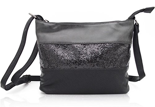 Gallantry-sac Schulter Frau Paillette Tasche (Schwarz 2) (Vintage Tasche Schulter Gesteppte)