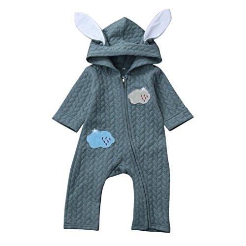 Longra Baby Overall Strampler mit Kapuze Baby Mädchen Jungen Kaninchen 3D Ohr Wolke Strampler Jumpsuit Overall Kleidung (Blue, 80CM 12Monate) (Niedliche Frauen Strampelanzug)