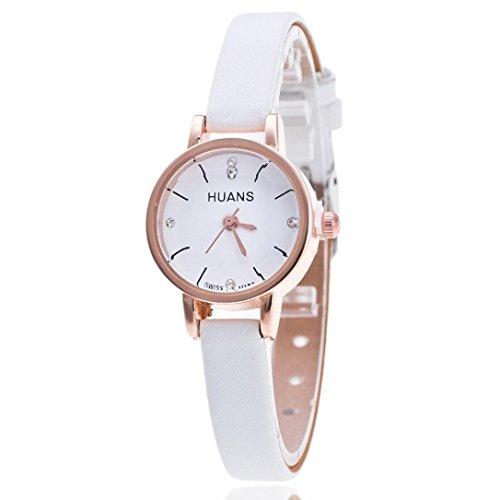 Damen Uhren, Kingwo Damen Armbanduhr Mode weibliche Modelle Mode dünne Gürtel Rhinestone Gürtel Uhr (Weiß)