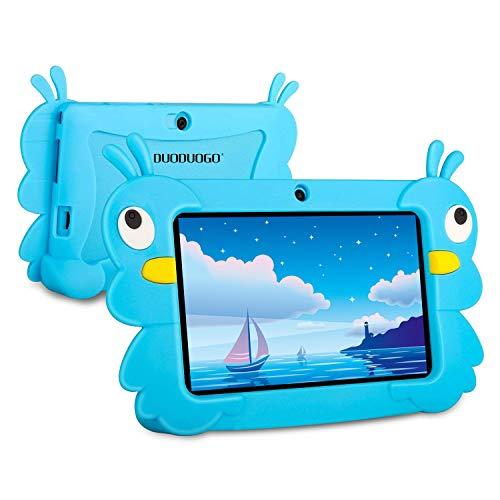 Tablet para Niños, DUODUOGO 2 GB RAM, 32 GB Disco 7 Pulgadas Android 6.0 Funda de Silicona Little Bee Juegos Educativos Tableta- Bluetooth, GPS, OTG, WiFi, Youtube (Azul)