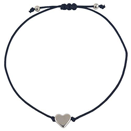 Nilian Herz Armband in silber – Filigrane Frauen Armbänder - perfekt geeignet als Geschenk – Hochwertiges Mädchen-Armband mit Herzanhänger (schwarz)