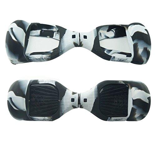 Protezione a 180° in silicone per hoverboard, accessorio per monopattino elettrico su 2 ruote da 16,5 cm (Nero + bianco)