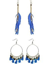 Nawab Boho Gypsy Fur Mirror Tassel And Eanmel Earring For Girls And Women (pack Of 2 Pair)- Blue And Blue