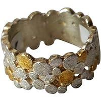 Damen Herren Ring Silberringe Fingerringe Bandring aus 925 Sterlingsilber vergoldet gold silber Kreise ungleichmäßig 9mm Ringgrößen 50 bis 60