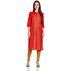 Aurelia Women's Straight Kurta (17FEK13115-62199_M_ORANGE)