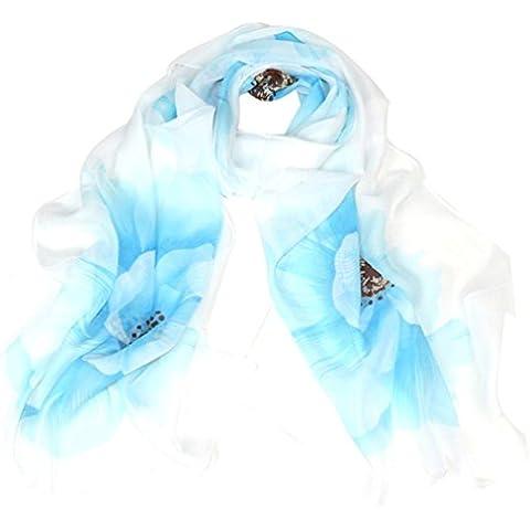 Bufandas para Mujer,Xinan Collar Leopardo Abrigo Mantón Pañuelo Gasa (Azul)