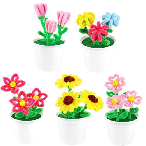 Toyvian 5 Sets Pfeifenreiniger, Chenille-Stiele zum Basteln, für Bastelarbeiten, Kunst, Blumen, Pflanzen, Weihnachtsdekorationen