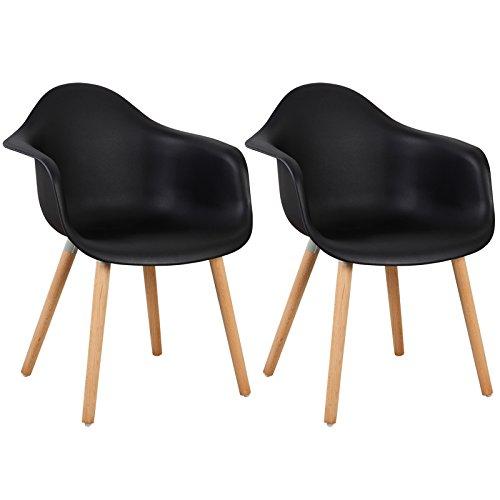 Holz Esszimmer-set (WOLTU® BH37sz-2 Esszimmerstühle 2er Set Esszimmerstuhl mit Lehne Design Stuhl Küchenstuhl Holz Schwarz)