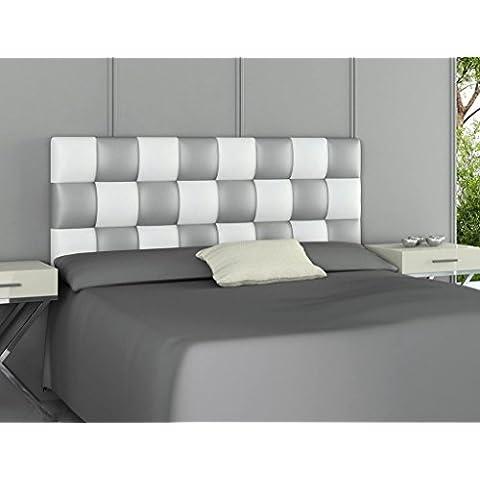 HOGAR24.ES- Cabecero tapizado de polipiel PATCHWORK plata y blanco