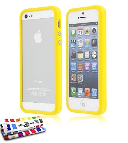 Bumper APPLE IPHONE 5S / IPHONE SE [Le Bumper Colors Premium] [Rosa] von Muzzano + UltraClear Pack 3Display Schutzfolie Transparent mit Stylus/Reinigungstuch für - Das ULTIMATIVE, ELEGANTE UND LANGLE Gelb