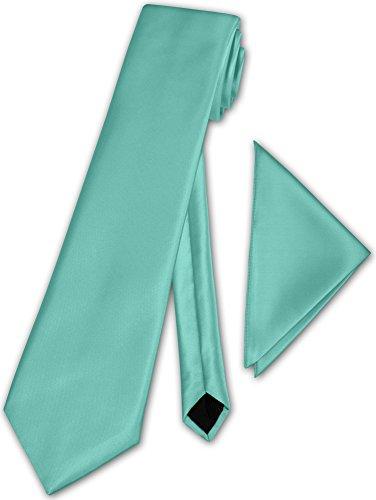 Herren Krawatte klassisch mit Einstecktuch Klassik Anzug Satinkrawatte - 30 Farben (Hell Mintgrün)