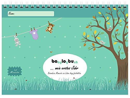 babylogbuch - mein erstes Jahr - farbmix - inkl. Aufkleberset - Baby-Kalender/Baby-Tagebuch - Geschenk - Version 2019