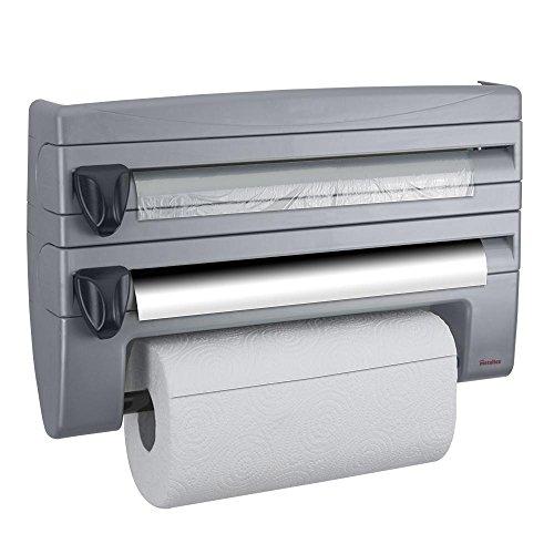 Metaltex Roll`n Roll Küchenrollenspender in silber, für 3 Rollen, Küchenrolle, Alufolie und Frischhaltefolie, inkl. Befestigungsmaterial