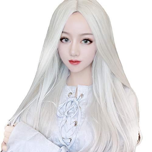 WUX Europa Und Amerika Realistische Silber Weiß Split Lange Gerade Haare Anzug Männer Und Frauen Anime Cos Perücke, Kostüm Film Und Fernsehen Kostüm Requisiten Make-Up Perücke