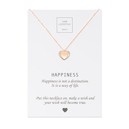 Luuk lifestyle gioielli donna, gift card, collana con ciondolo a forma di cuore e biglietto regalo con frase happiness, portafortuna, rosa