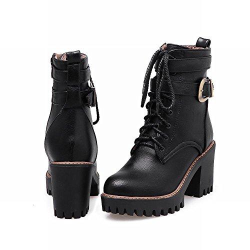 Mee Shoes Damen chunky heels runde mit Schnürsenkel Reißverschluss Stiefel Schwarz