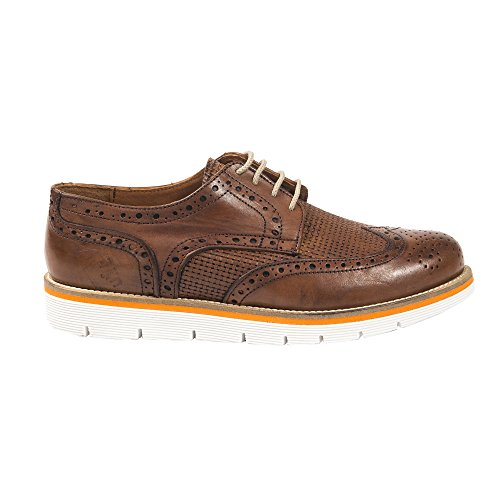 UominiItaliani - Chaussures élégant en cuir avec lacets pour homme Made in Italy - Mod. 5736 308 bronzer