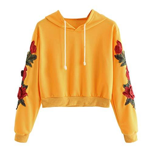 Berimaterry Damen Blumen Applikationen Sweatshirt Kurz Hoodie Teenager Mädchen Langarm Kordel Hooded Pullover Top Bauchfreie Kapuzenpullover Bluse