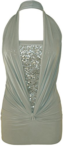 Ladies Sequin Halter Neck Ruched Boob Tube Stretch Top EUR Taille 36-44 Gris