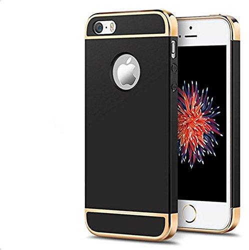 Coque iphone SE étui Qissy® 3 en 1 Bumper Placage Détachable Spécialement Design PC Ultra Mince Léger Hard Case Pour iphone SE 5s 5 4.0 Pouces Noir