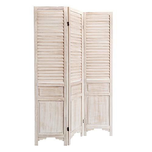 Biombo de paulonia Natural Blanco Plegable clásico para Dormitorio Fr