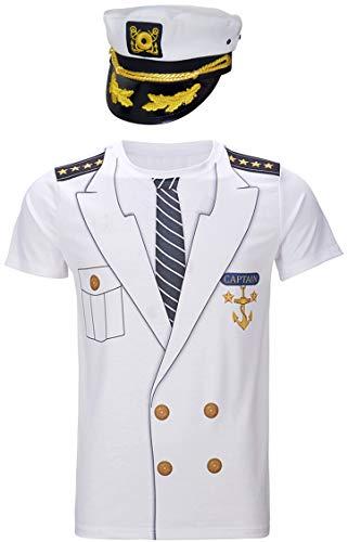 Cosavorock Herren Kapitän Kostüm T-Shirts mit Kapitän Hüte (3XL, Weiß)